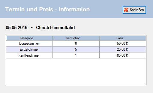 Infofenster mit Preisinformationen